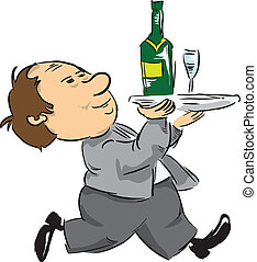 A waiter with a tray - A waiter with a bottle of wine and...