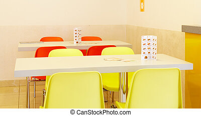 Interior of a fast food restaurant - Interior of a yellow...