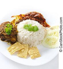 Asian cuisine - Famous malaysian food nasi lemak