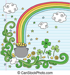 End of the Rainbow Treasure Vector - St Patricks Day End of...