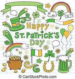 St Patricks Day Doodles Icon Vector - St Patricks Day Icon...