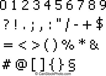 pixel font - numbers and symbols characters
