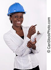 Young South African in hard hat smiling.