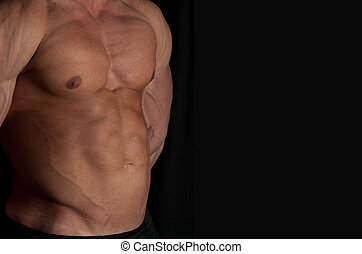 bodybuilder - Muscular male torso of bodybuilder on black...