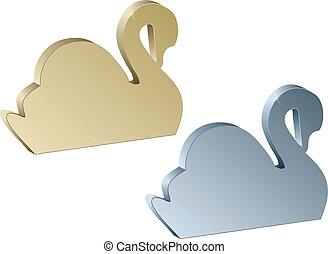3d metallic swans