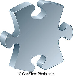 3d metallic puzzle piece