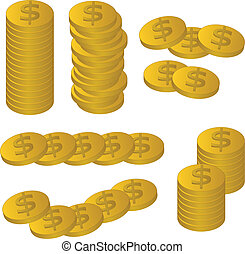 vector gold coins