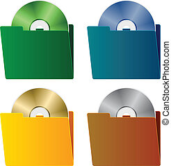 vector folders with CD