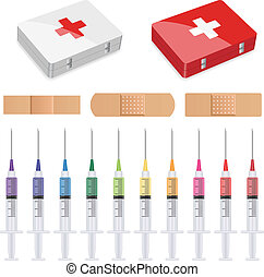 vector first aid, plasters and syringes