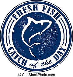 Catch of the Day Stamp - Vintage style fresh fish stamp.