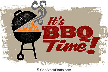 It's BBQ Time - A vintage style barbeque grill graphic.