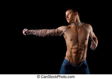 desnudo, hombre, cadena, Manos, pelea, luz