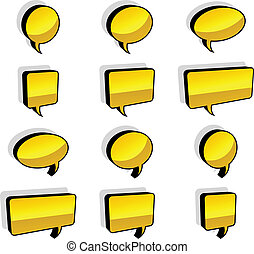 vector 3d shiny speech bubbles