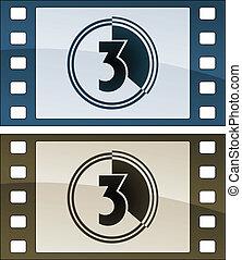 vetorial, película, Tiras