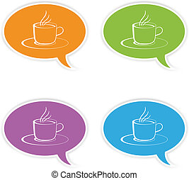 vector speech bubbles with cup