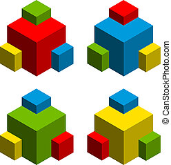 vector 3d abstract cubes