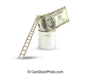 dollars with a ladder on white background