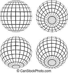 vetorial, globos