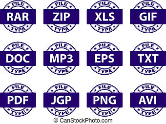 vector document icon stamps