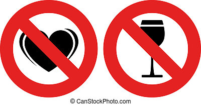 vector no allowed love and alcohol marks