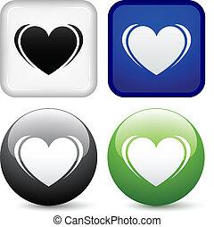vector heart buttons