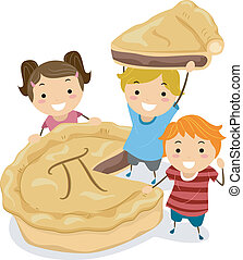 Pie Kids - Illustration of Kids Gathered Around a Pie