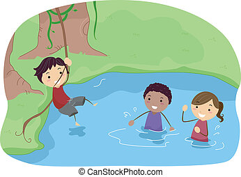 Campers Playing in a River - Illustration of Campers Playing...