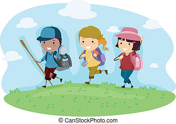 Camping Trip - Illustration of Kids on a Camping Trip