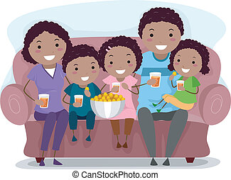 Family Show - Illustration of a Family Watching a Television...