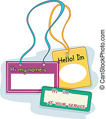 Name Tags - Illustration Featuring Blank Name Tags