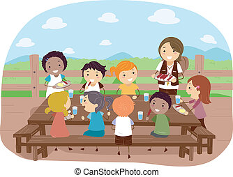 Camp Dining - Illustration of Campers Eating Together