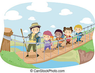 Hanging Bridge - Illustration of Campers Crossing a Hanging...