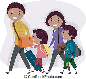 Family Trip - Illustration of a Family on a Trip