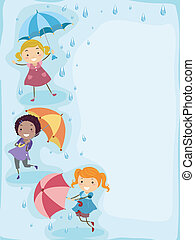Playing in the Rain - Illustration of Kids Playing in the...