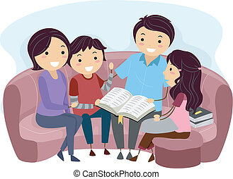 Bible Study - Illustration of a Family Studying the Bible...