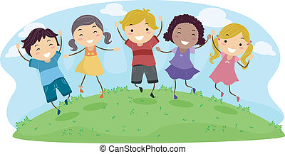 Happy Kids - Illustration of Kids Jumping with Glee