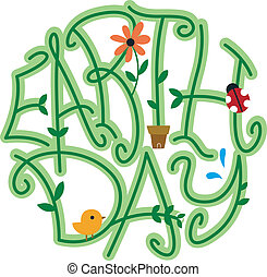 Earth Day - Illustration of Vines Forming the Word Earth Day