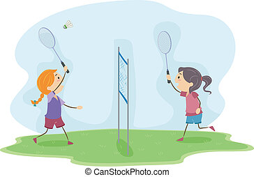 Badminton Girls - Illustration of Girls Playing Badminton