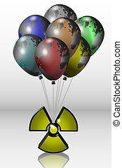 tierra, símbolo, radioactivo