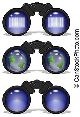 binoculars set - a collection of black binoculars with a...