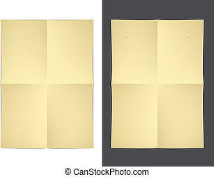 vector yellow folded paper