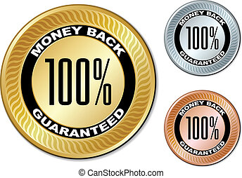 vector money back guaranteed labels