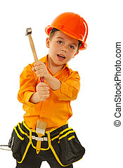 Kid boy with hammer