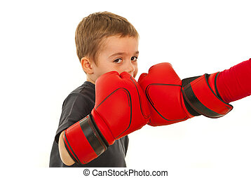 Little boxer boy fighting