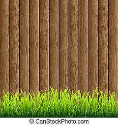 Wood with green grass - Wooden background with green grass