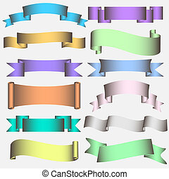 Ribbon Scroll in pastel tones - Banner Ribbon Scroll in...