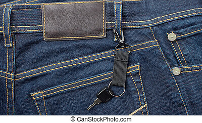 jeans with lable and key