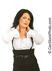 Business woman with neck pain - Tired business woman having...