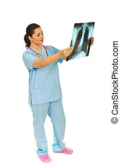 Doctor woman checking x-ray