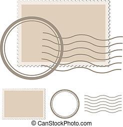 vetorial, em branco, poste, selo